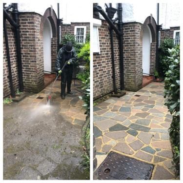 Pressure washing services, crazy paving patio cleaning, Reigate, surrey