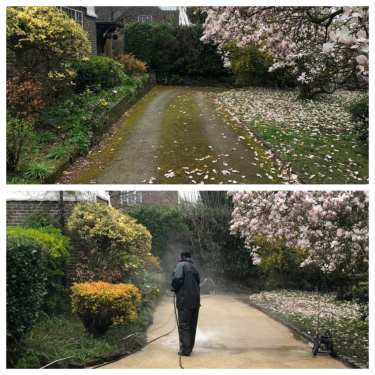 resin patio cleaning service before & after reigate surrey