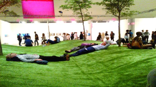 People relaxing in rest area inside Art Basel Miami Beach-20141204-00239