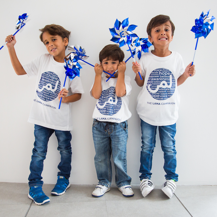 Mohammed, Yousif and Ali) are Leaders of The Lama Campaign, Pinwheels represent hope, health and happiness