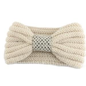 Winter gebreide haarband beige met strik voor dames