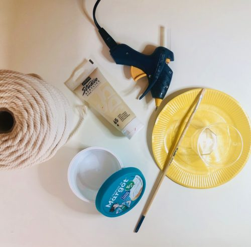 Fournitures détournement upcycling emballage alimentaire style boho