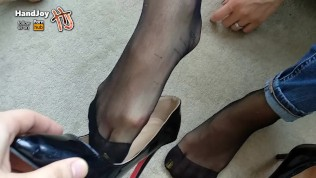 Awesome Feet And Heels Giving A Nice Footjob With Shoes On