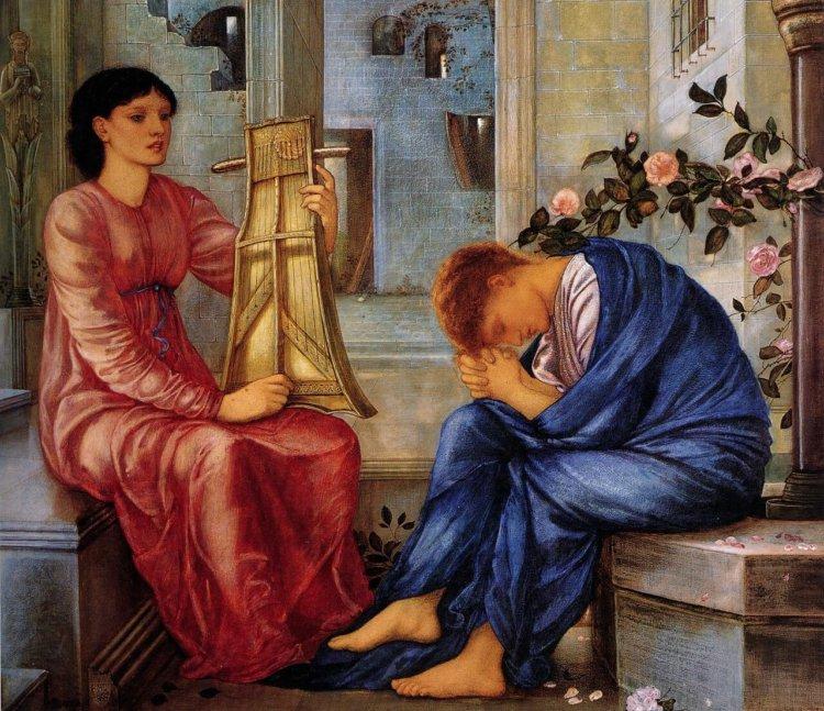 Gemaltes Bild zweier Menschen in der Antike, die traurig sind. Einer in rotem Gewand mit einer Leier, einer in einem blauen Gewand der betet.