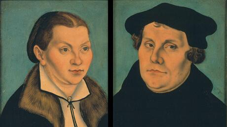"""Luther, Martin (1483 - 1546), Deutscher Reformator; """"Dr. Martin Luther und seine Ehefrau Katharina von Bora""""; Gemälde / Öl auf Buchenholz von Lucas Cranach d. Ä., 1529, je 36 x 23 cm Original: Darmstadt, Hessisches Landesmuseum"""
