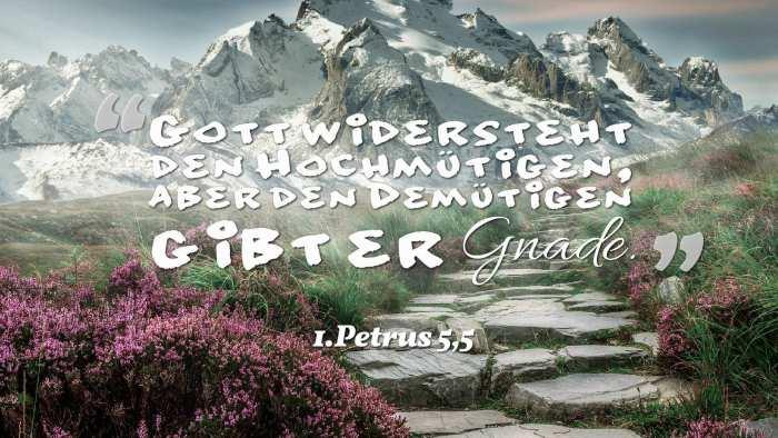Gott widersteht den Hochmütigen, aber den Demütigen gibt er Gnade. - 1.Petrus 5,5