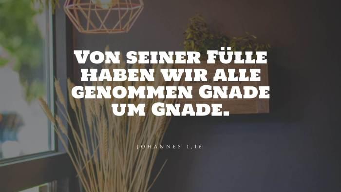 Von seiner Fülle haben wir alle genommen Gnade um Gnade. - Johannes 1,16