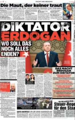 Alman Bild gazetesinin 1. sayfası. Cumhurbaşkanı Erdoğan bunu hak etmiyor...