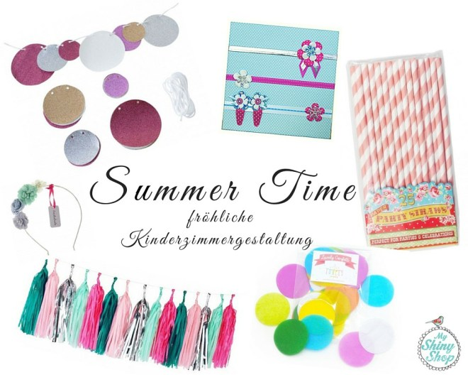 Kinderzimmergestaltung - Summer Time - froehliche Gestaltung Collage Produkte myShinyShop