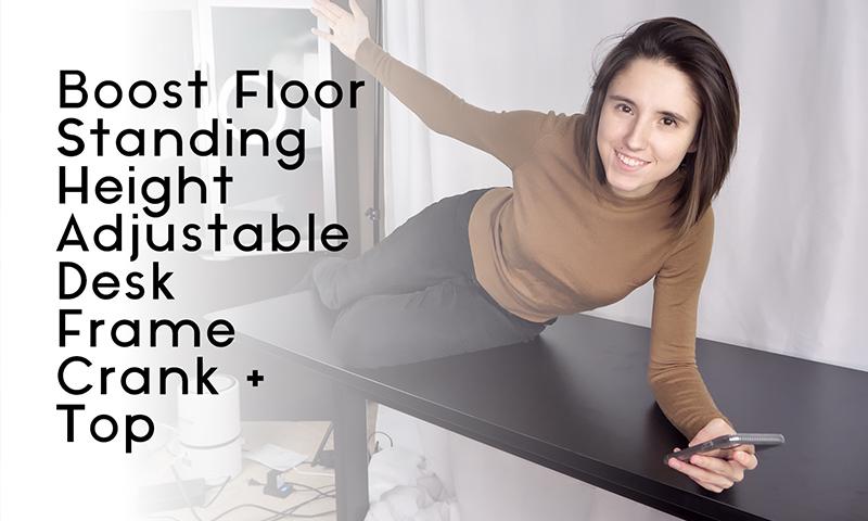 Boost Floor Standing Height Adjustable Desk Frame Crank + Top   Feifei Digital Ltd   Vancouver Digital Agency