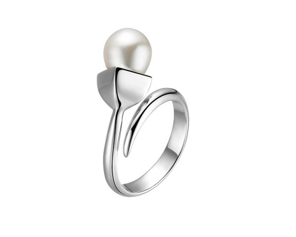 Snowdrop open ring with pearl, set in silver rhodium plate.