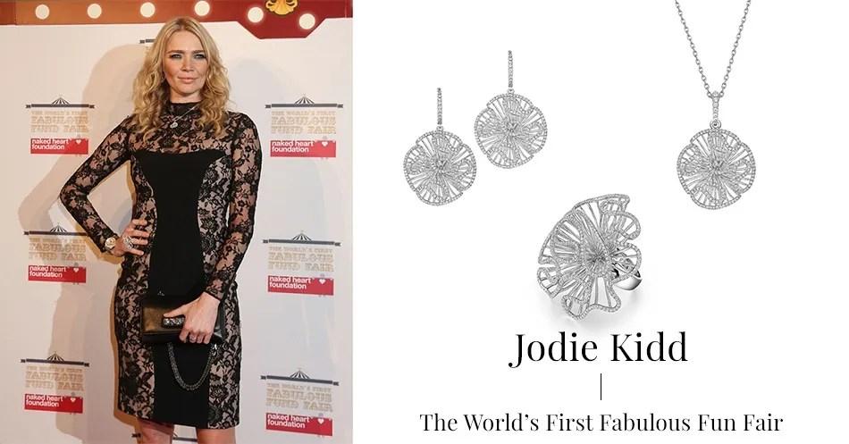 Jodie Kidd wearing Fei Liu Cascade collection.