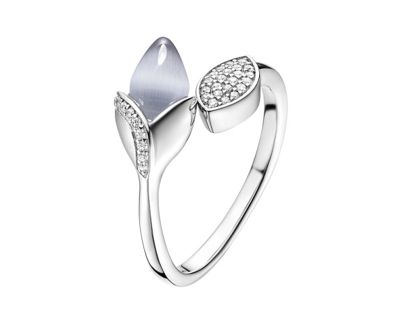 Magnolia ring with leaf detail, with cubic zirconia and cat's eye stone set in sterling silver.