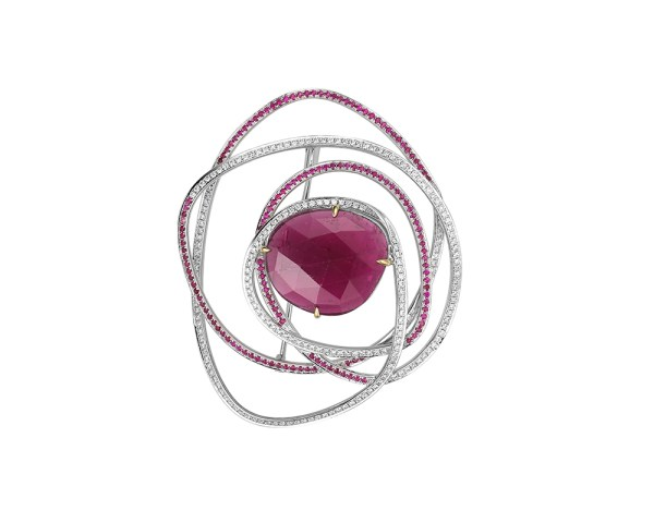 One-off rubellite brooch with diamonds and rubies.