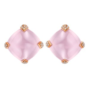 Rose quartz 18ct yellow gold stud earrings