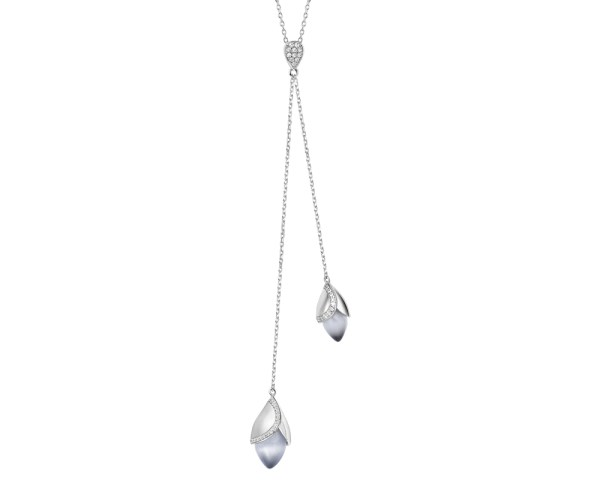 Magnolia cat's eye stone 8 hearts and 8 arrows rhodium plate sterling silver lariat necklace.