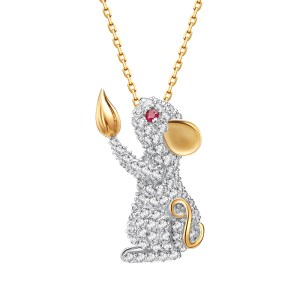 Fei Liu 14ct yellow gold diamond Year of the Rat.