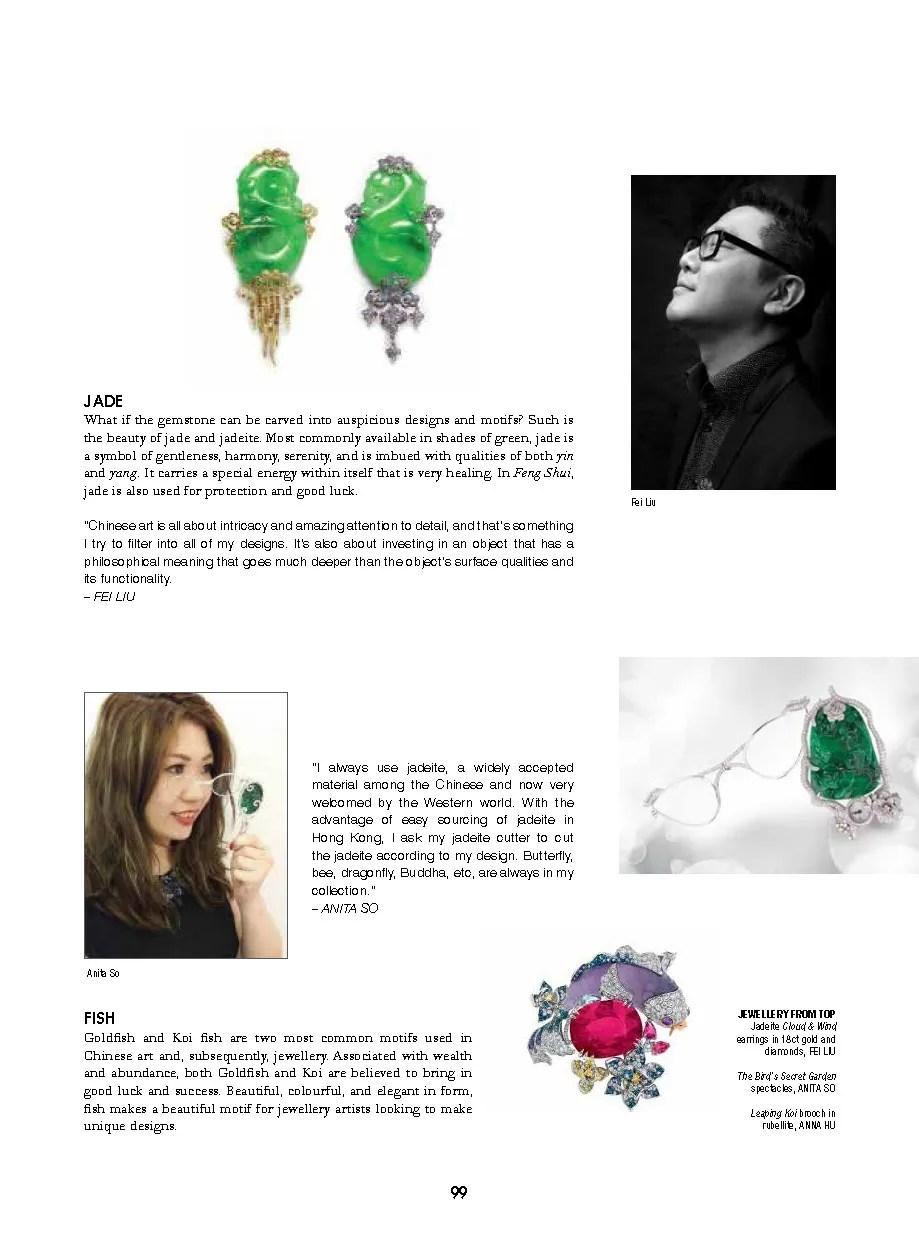 Solitaire Magazine - Fei Liu Jadeite Cloud & WInd Earrings feature.