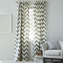Cotton canvas zig zag curtain in feather grey from £23.00 - West Elm