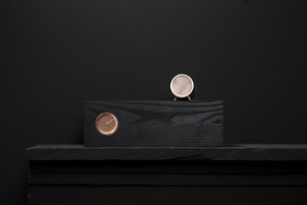 Leff Amsterdam Tube Wood Clock - Black Ash/Copper from Black by Design