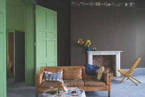 Farrow & Ball Salon Drab No.290 with woodwork in Yeabridge Green No.287, floor in Plummett No.282