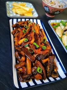 Yu Xiang Eggplant, aubergine, mushroom, vegetarian, chinese food, sichuan, spicy