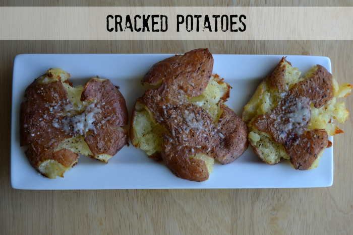 Cracked Potatoes Recipe - bake potatoes, smash them down with a plate, sprinkle with olive oil, salt/pepper and seasoning, add cheese at the end.  Amazing!