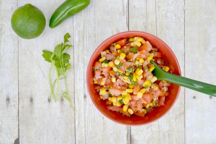 Corn Salsa - mix tomatoes, red onion, jalapeno, cilantro, corn, lime juice!