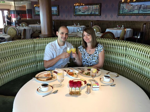 dining at Palo restaurant on the Disney Fantasy