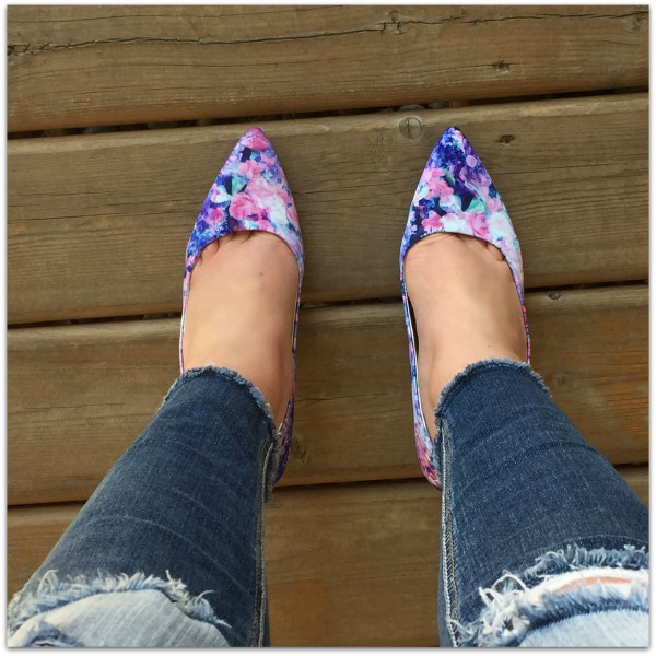 floral pointy toe shoes
