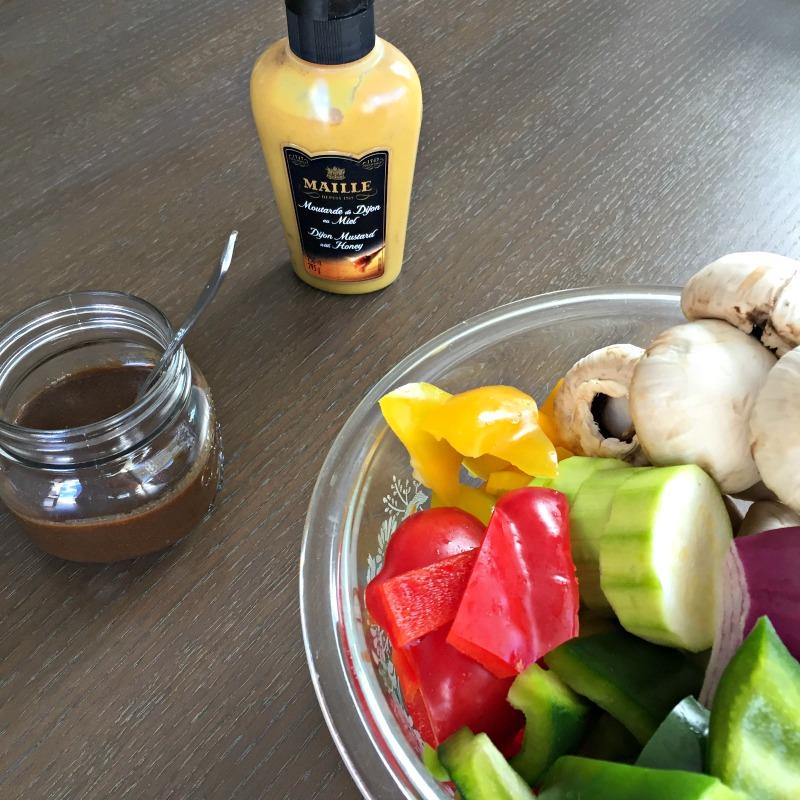 honey dijon mustard and veggies