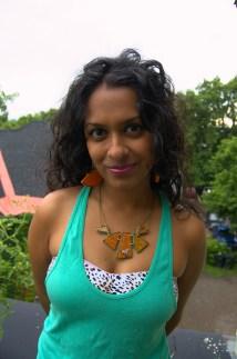 Sasha in Honey Bee Geometric necklace