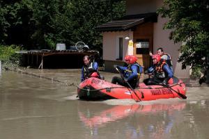 Hochwasser in Vorarlberg Feuerwehr Mure Überflutung Wasserrettung