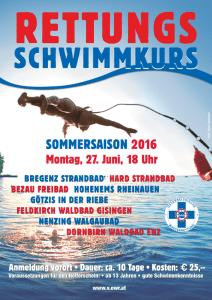 Der nächste Rettungsschwimmkurs startet am Montag, 27. Juni um 18:00 Uhr im Waldbad Feldkirch-Gisingen und vielen anderen Freibädern Vorarlbergs