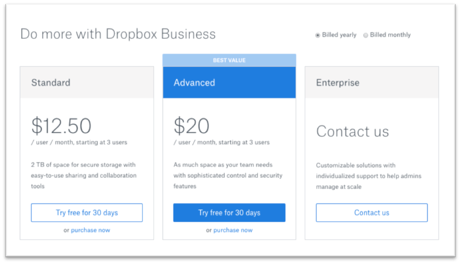 Dropbox fees