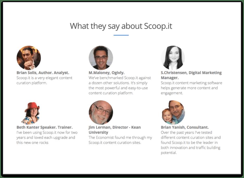 Scoopit testimonials