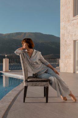 Button Down Silk Pajama Set