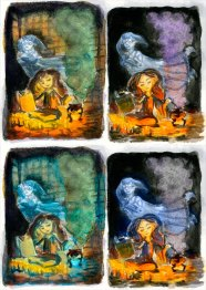 Hermione Mixing Polyjuice Potion-Color Studies, Watercolor