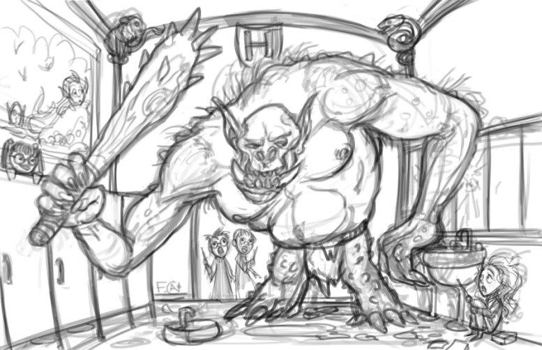 Mountain Troll in the Bathroom Sketch, Digital