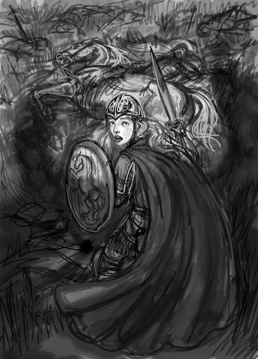 Eowyn and the Witch-King Sketch, Digital