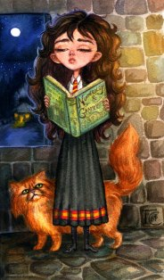 Hermione Reading with Crookshanks Sketch Watercolor