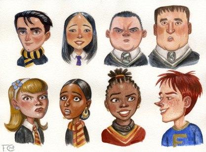 Cedric, Cho, Crabbe, Goyle, Fred, Alicia, Pavarti, and Lavender Sketches, Casein