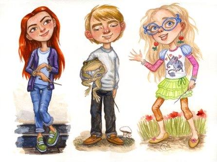 Ginny, Neville, and Luna, Casein Sketch