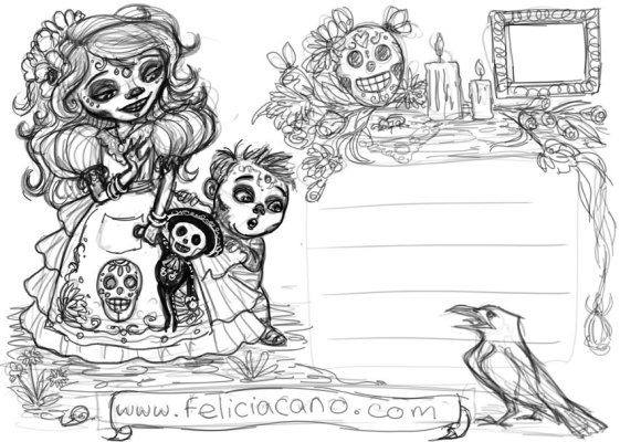 Day of the Dead Back Sketch, Digital