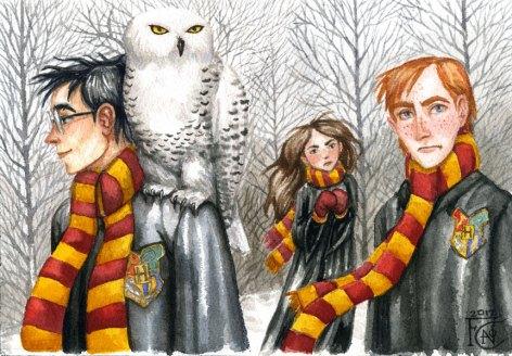 Trio with Hedwig, Watercolor