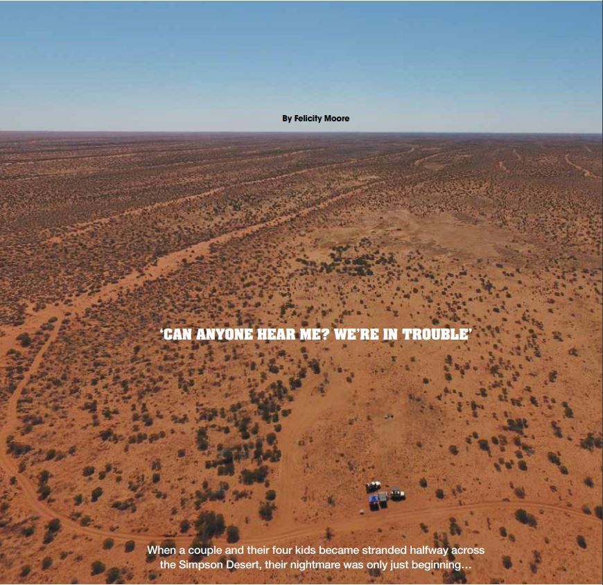 Snapshot of cover page to a magazine article. An aerial image shows a vast desert expanse and two vehicles.