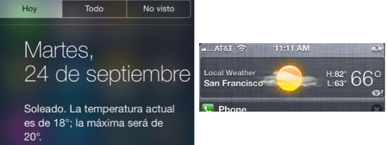 Weather iOS 6 and iOS 7