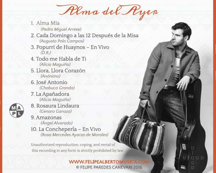 Felipe Alberto - Alma del Ayer - Back Cover