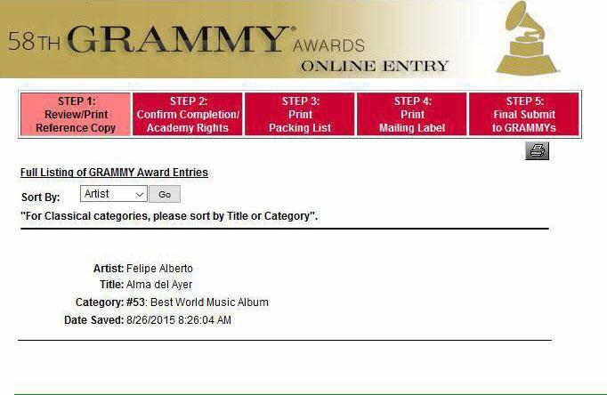 Felipe Alberto - Grammy Nomination 2015