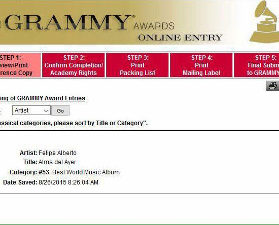 Felipe Alberto - Grammy Nomination 2015